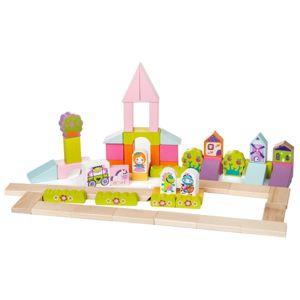CUBIKA 13906 Rozprávkové mesto - drevená stavebnica 55 dielov