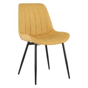 HAZAL CI/ZL - stolička jedálenská čierna / látka žltá