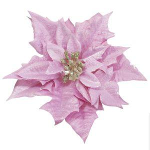 Florasystém Poinsettia ružová clip 20cm - Umelý kvet vianočný