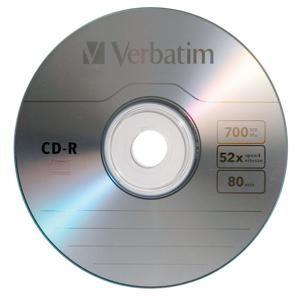 Verbatim CD-R 1ks bez obalu, 700MB 52x