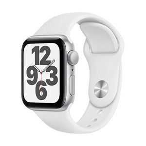 Apple Watch SE GPS, 40mm Silver Aluminium Case with White Sport Band - Regular  + VYHRAJ PEUGEOT 208 - Smart hodinky