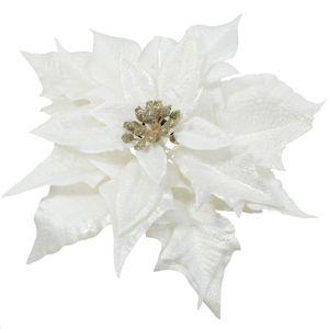 Florasystém Poinsettia krémová zlatá clip 20cm - Umelý kvet vianočný