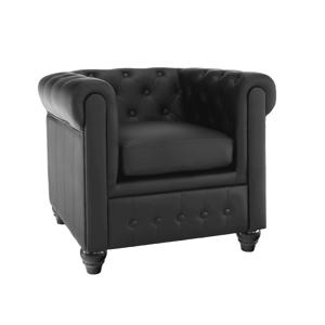 CHESTERFIELD 1P - luxusné kreslo ekokoža čierna