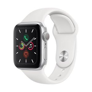 Apple Watch Series 5 GPS, 40 mm Silver Aluminium Case with White Sport Band MWV62VR/A