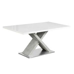 FARNEL BI/BE - jedálenský stôl pevný 160x90x76 cm, biela vysoký lesk / betón