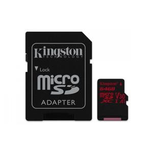 Kingston MicroSDXC 64GB Class U3 UHS-I V30 A1 (r100MB,w80MB) SDCR/64GB