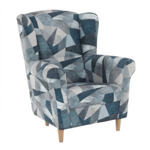 CHARLOT sivo-modrý vzor - kreslo ušiak, látka Holm sivo-modrý vzor / nohy drevo